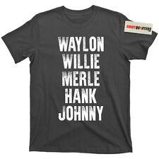 Waylon Jennings Willie Nelson Merle Haggard Johnny Cash Hank album tee t shirt