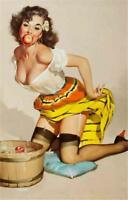 Sexy Pin-up Girl  Bobbing For Apples Vintage Style Poster Print