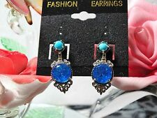 Caribbean Quartz, ASB Turquoise Ear Jacket Earrings 14K YG, Platinum over 925SS