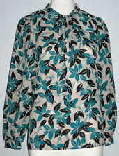 SPORT COLLECTION Size 12 White Black Blue Long Sleeve Blouse (Made in Canada)