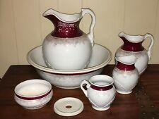 Antique Windsor 7 Piece Toiletry Set Pitcher, Basin, Soap Dish, Chamber pot, Etc