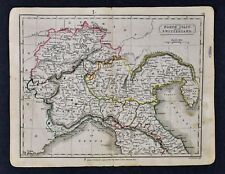 c 1840 Hall Map - North Italy & Switzerland - Venice Milan Genoa Geneva Zurich