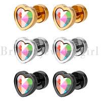 Women Girls Stainless Steel Heart Stud Earrings with Birthstone Hypoallergenic