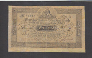32 SKILLINGAR FINE- BANKNOTE FROM SWEDEN 1857 PICK-A123 VERY RARE