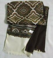 Mens Vintage Cravat Neck Scarf 1970s 1980s Long Style Cream Brown Wool Silk