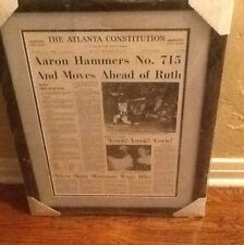 HANK AARON SIGNED ATLANTA CONSTITUTION PAGE 16x20 AUTO BRAVES MOUNTED MEMORIES