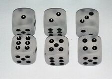 DICE 16mm CHESSEX *FROSTED CLEAR* 6 EACH* w/BLACK PIPS!
