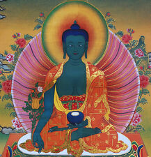 "24"" SILK BROCADED BLESSED GOLDEN WOOD SCROLL TIBETAN THANGKA: MEDICINE BUDDHA ="