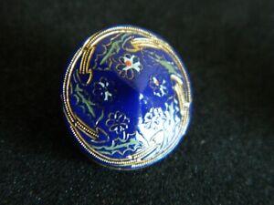 Victorian Line Design Sm Button Blue PEAKED Shape Gold w Flowers Design