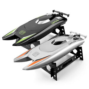 RC Boats High Speed Racing Boat 2 Channels Remote Control Kids Toy Black/Sliver