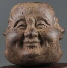 Oriental Chinese 4 Face Wood Hand Carved Statue Wooden Vintage Buddha Buddhist