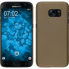 Hardcase Samsung Galaxy S7 rubberized gold Cover + protective foils