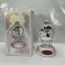 More details for rare disney mickey and minnie wedding musical animated snow globe & original box