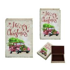 Merry Christmas Tree Car Wood Nesting Book Box Secret Storage Magnetic Large 12""