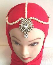 NUOVO Hijab Matha Patti gioielli catena Indian Head Pezzo Pearl EID vendita!!!