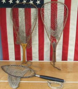 Vintage Fishing Landing Nets Group Wood Trout Stream Ed Cumings Jim Haney &other