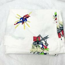 Pottery Barn Kids DC Comics Superman Twin Flat Sheet 100% Cotton White C2