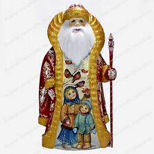 """11"""" SANTA CLAUS STATUE CHRISTMAS RUSSIAN WINTER THEMES HAND CARVED WOODEN FIGURE"""