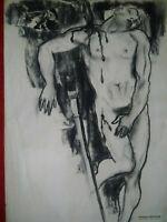 Rare très grand dessin original Saint Sébastien étude nu masculin années 30 - 40