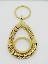 WHITING & DAVIS STYLE GOLD TONE KEY RING WITH MAGNIFYING GLASS