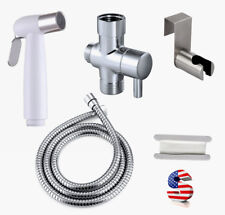 Toilet Bidet Spray Shower Head Shattaf T-Adapter Brass Stainless Steel Hose Kit