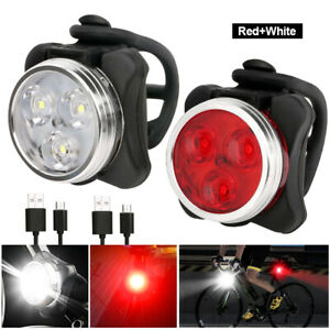 Rechargeable Bicycle Bike Headlight Rear Taillight Bulb USB LED Light Front Lamp