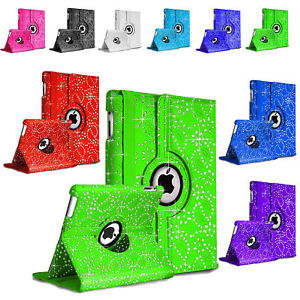 New Rotate Bling Sparkly Diamond Leather Case For Apple iPad Air 1/2 Mini 2/3/4