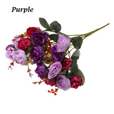 21 Heads Artificial Silk Rose Flowers Bouquet Fake Leaves Wedding Home Decor -