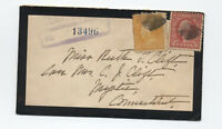 1921 registered mourning cover New London CT to Mystic CT1921 Xmas seal  [y5661]