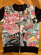 Skater Zippered Light Jacket/ Cardigan Graffiti Front sz 10-12 years Super Cool