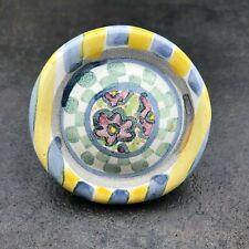 McKenzie Childs 1 MYRTLE KNOB PULL Floral Hand Painted Ceramic Yellow Blue Pink