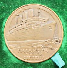CUNARD WHITE STAR LINE RMS QUEEN MARY GILBERT BAYES MAIDEN VOYAGE MEDALLION MINT