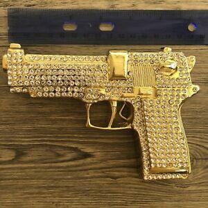 Fake Gun Belt Buckle Cowgirl Gold Halloween Costume Metal Gothic Tribal Tattoo