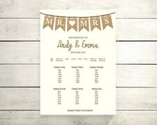 Mr & Mrs lace burlap table seating plan (A2 available) any col