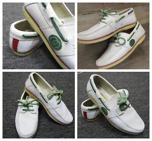 Vtg Gucci Nova White Leather Deck Boat shoes US sz 8 Euro sz 41 Logo Lace Up