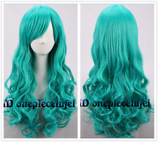 60cm Long Dark Turquoise Wavy Curly Hair Mermaid Cosplay Wigs +a wig cap