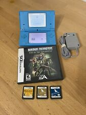 Nintendo DSi Console Light Blue TWL-001 with Charger & 4 DS Games - NO Stylus