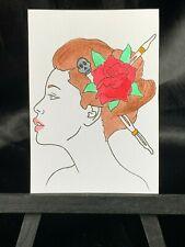 ACEO Original Roselina Medium Black Ink Marker on Paper Signed by Artist PH