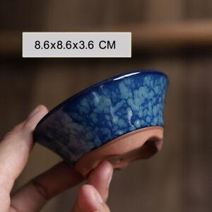 Round Blue Glazed Mame Bonsai Pot with Pattern 8.6x8.6x3.6cm
