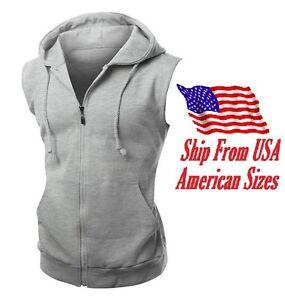 New Men's Gray Vest Zipper Hoodie Sweatshirt Biker Gym MMA Boxing Workout Beast