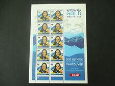 Australian Stamps: 2010 Winter Olympics  Lydia Lassila Sheet of 10 MNH