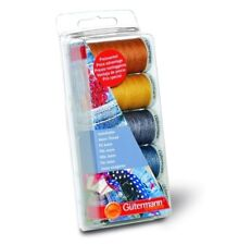 GUTERMANN SEW ALL JEANS THREAD SET 5 COLOURS CRAFTS SEWING EMBROIDERY MACHINE