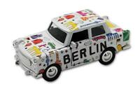 Trabi Trabant Limousine Berlin Scribble weiß Modellauto DDR Metall 12 cm