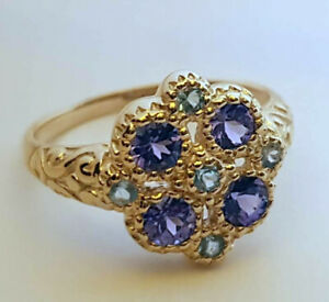 s R107 Genuine 9ct Yellow Gold NATURAL Tanzanite & Topaz Blossom Ring size N
