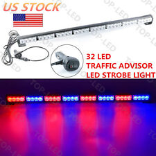 32 LED 12V Emergency Warning Traffic Advisor Flash Strobe Light Bar Red Blue US