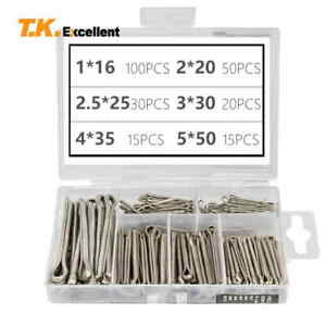 304 Stainless Steel Cotter Pin Assortment Set Value Kit,230 Pcs