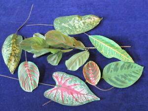 "Vtg Millinery Flower Collection Tropical Leaf FoliageGreen Fabric 3 1/2-9"" Y308A"