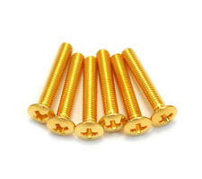 Pack of 6 Gold Short Tuner Button Screws for Electric Guitar and Bass