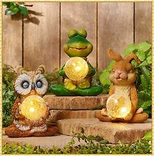 Solar Animal w/ Gazing Ball Statue Figurine Garden Yard Decor Bunny Frog or Owl