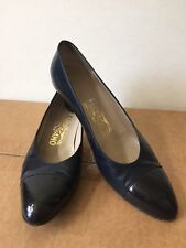 Ferragamo Shoes Italy Blue Black Calf Leather Cap Toe Dress Heels Pumps 8 Patent